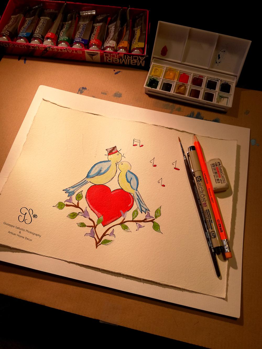 valentins dag, akvarell