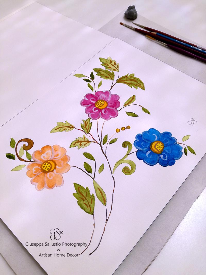 akvarell blommor